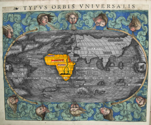 Image: Typus Orbis Universalis from Ptolemy's Geographia (Sebastian Münster 1540) fol. 2 verso. Courtesy The Newberry Library, Chicago, via Mapping Place exhibition catalog.